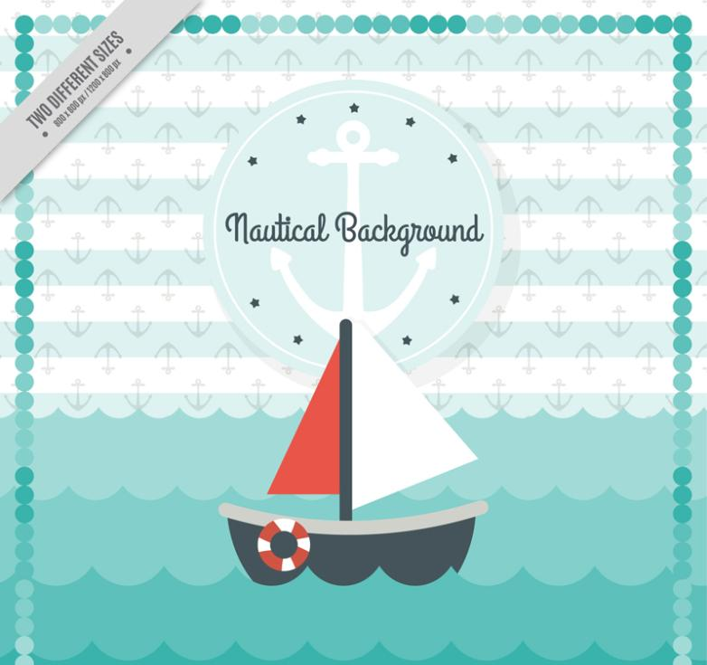 In The Ocean Sailing Illustrations Vector