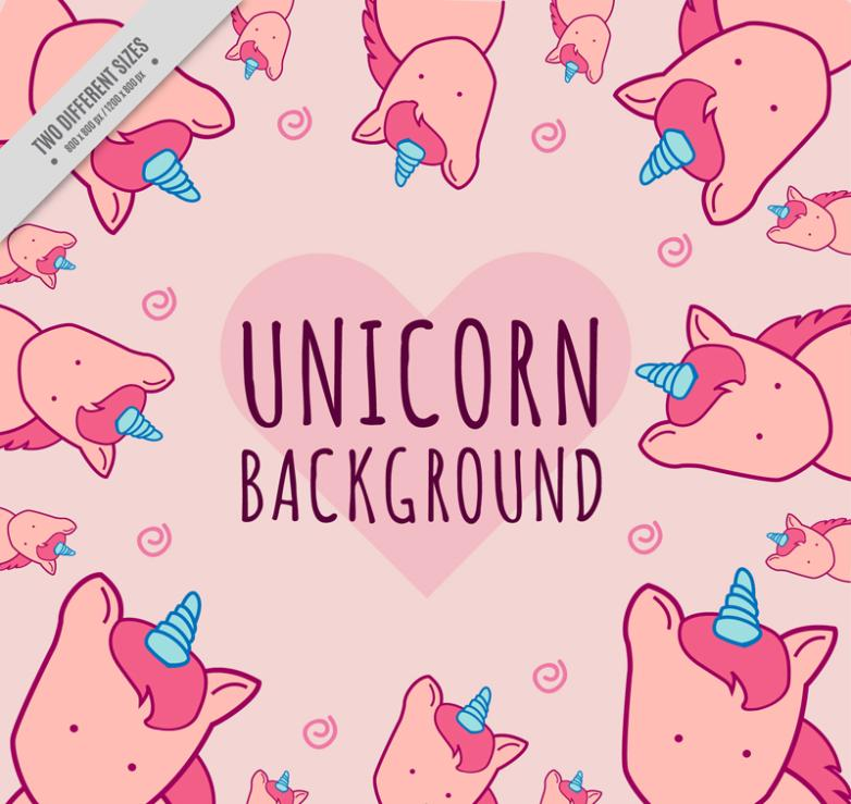 Cartoon Pink Unicorn Background Vector