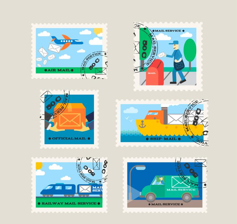 Six Design Creative Mail Stamps Vector
