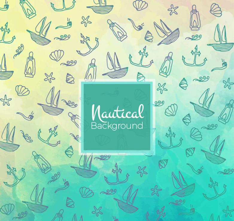 Natural Coloured Drawing Or Pattern And Navigation Elements Seamless Background Vector