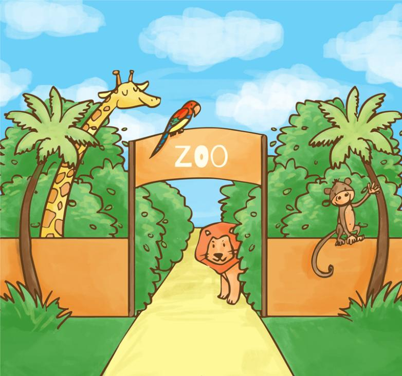 Coloured Drawing Or Pattern The Zoo Gate And Animal Illustrations Vector