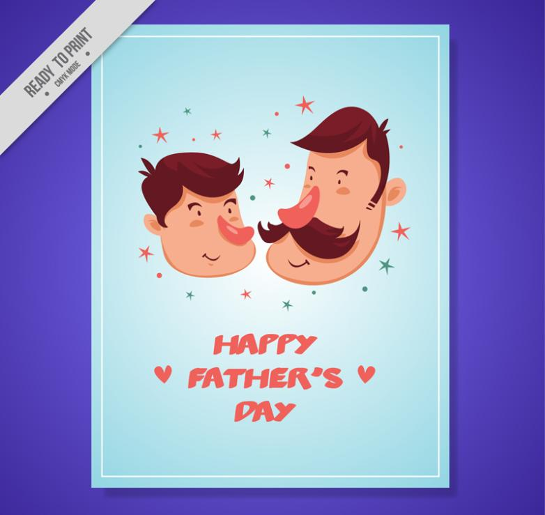 Cartoon And Father's Day Cards Vector