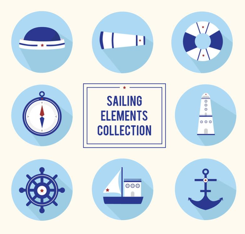 Eight Blue Navigation Elements Icon Vector