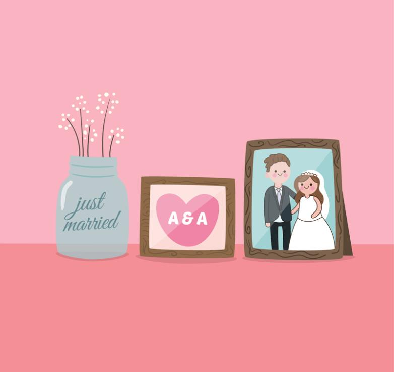 Creative Newlyweds Desktop Furnishing Articles Vector