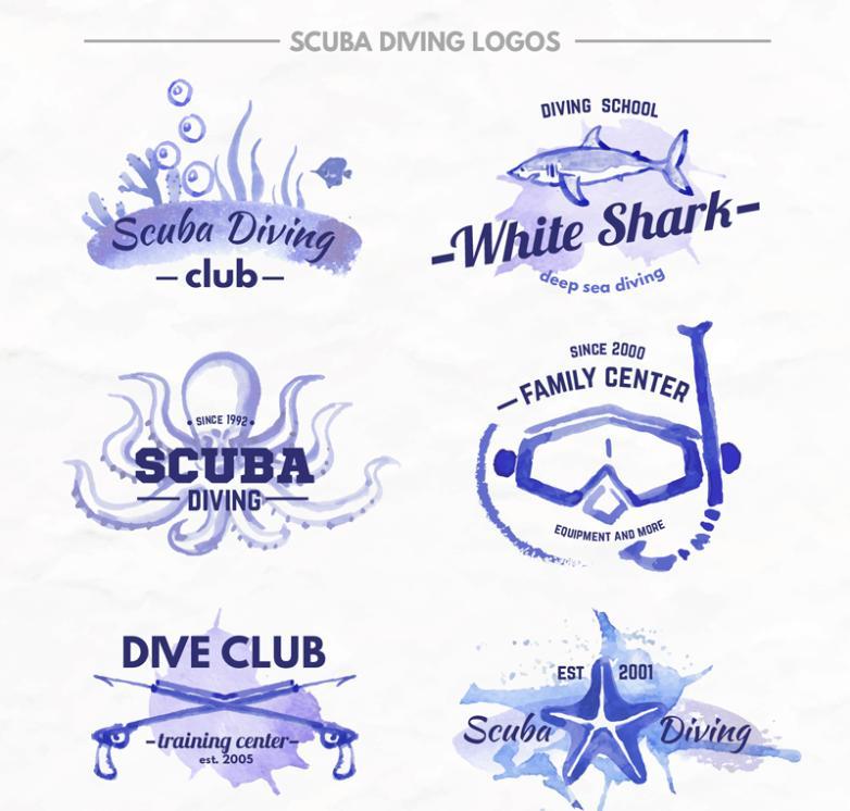 Nine New Blue Professional Diving Club Logo Vector