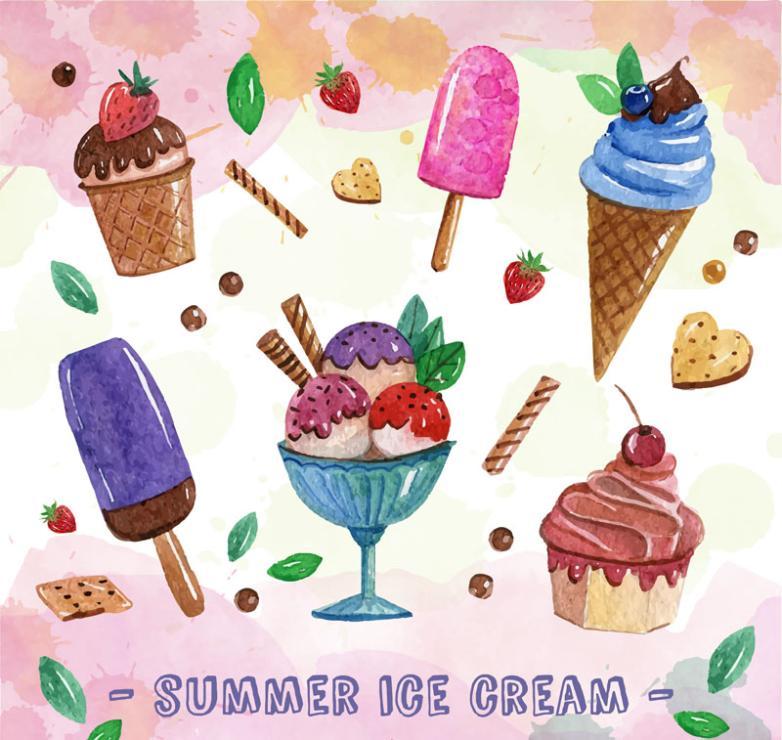 Six Delicious Ice Cream Ice Cream In Summer Vector