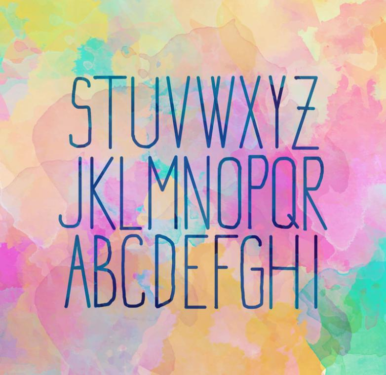 26 Watercolor Thread Capital Letters Design Vector