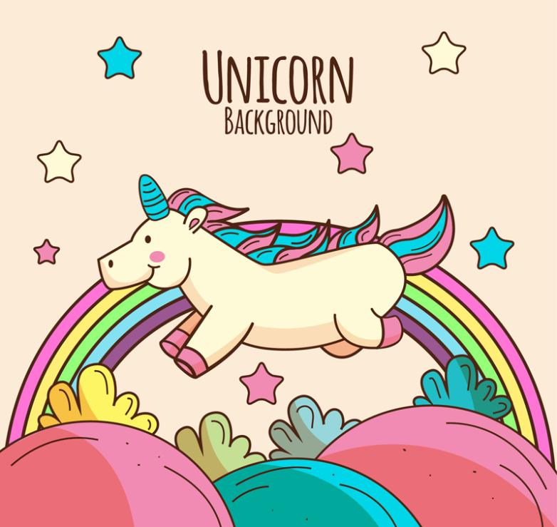 Cartoon Running Unicorns And Rainbow Vector