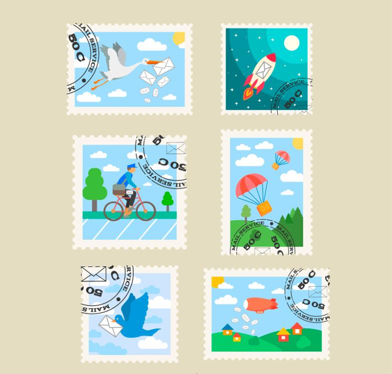 Six Fresh Cover Postmark Stamp Design Vector