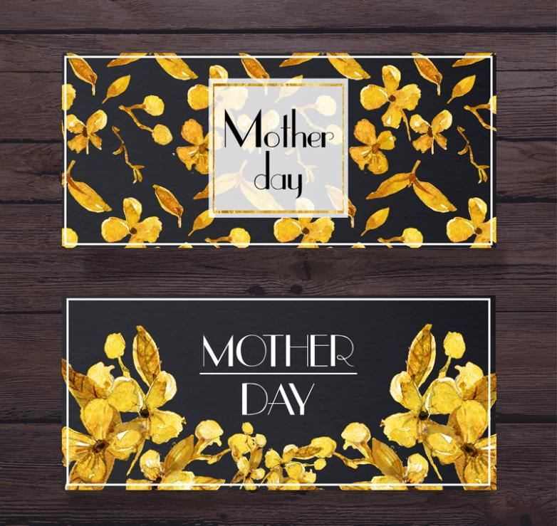 Two Yellow Flowers On Mother's Day Banner Vector