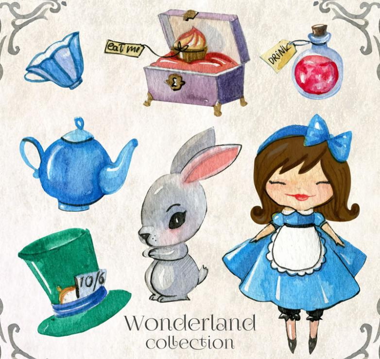 7 Water Coloured Drawing Or Pattern Alice Fairy Tale Elements Vector