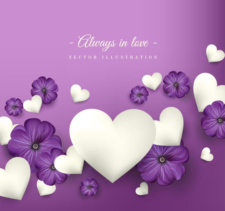 Love Purple Flowers And White Vector