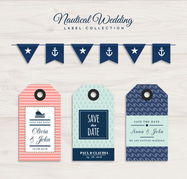 4 Creative Wedding Flag And Tags Vector