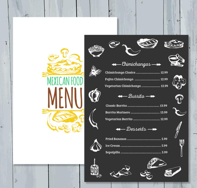 Mexican Food Menu Coloured Drawing Or Pattern Vector