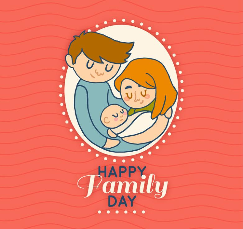 Creative Young Parents Family Day Greeting Card Vector
