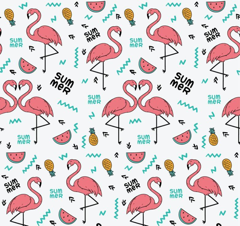 Summer Pink Flamingos And Pineapple Seamless Background Vector