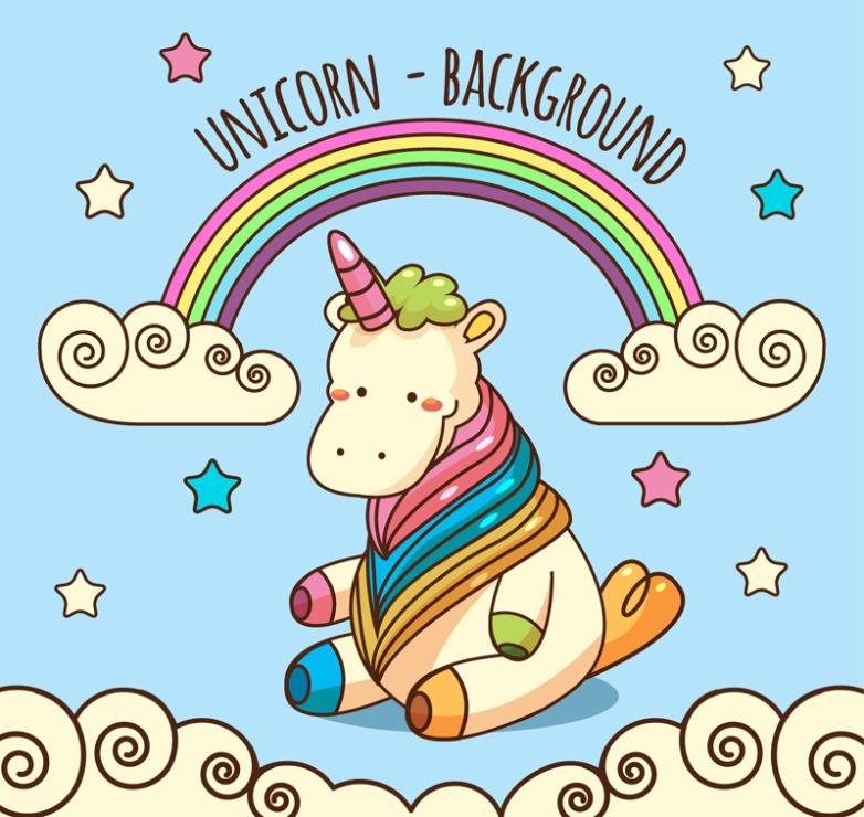 Lovely Sitting Unicorn Coloured Drawing Or Pattern Vector