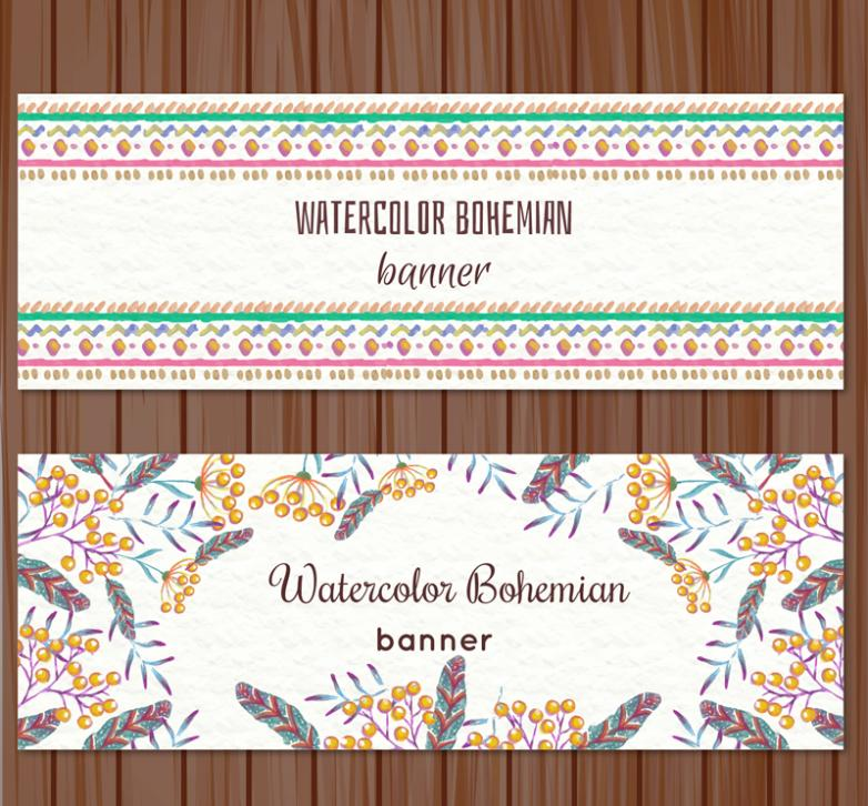 2 Or More Creative Watercolor Pattern Banner Vector