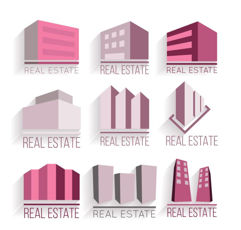 Nine New Purple Three-dimensional Construction Real Estate Signs Vector
