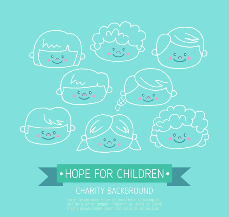 Lovely Smile Children Hand-painted Head Charity Background Vector