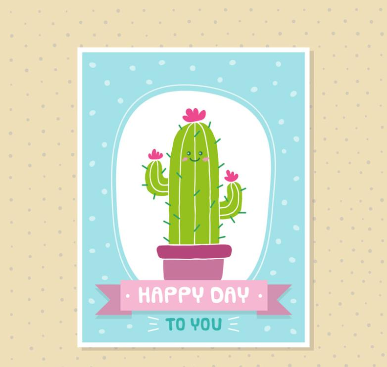Lovely Cactus Greeting Card Vector