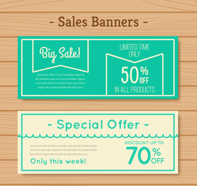 Two Green Promotional Banner Vector