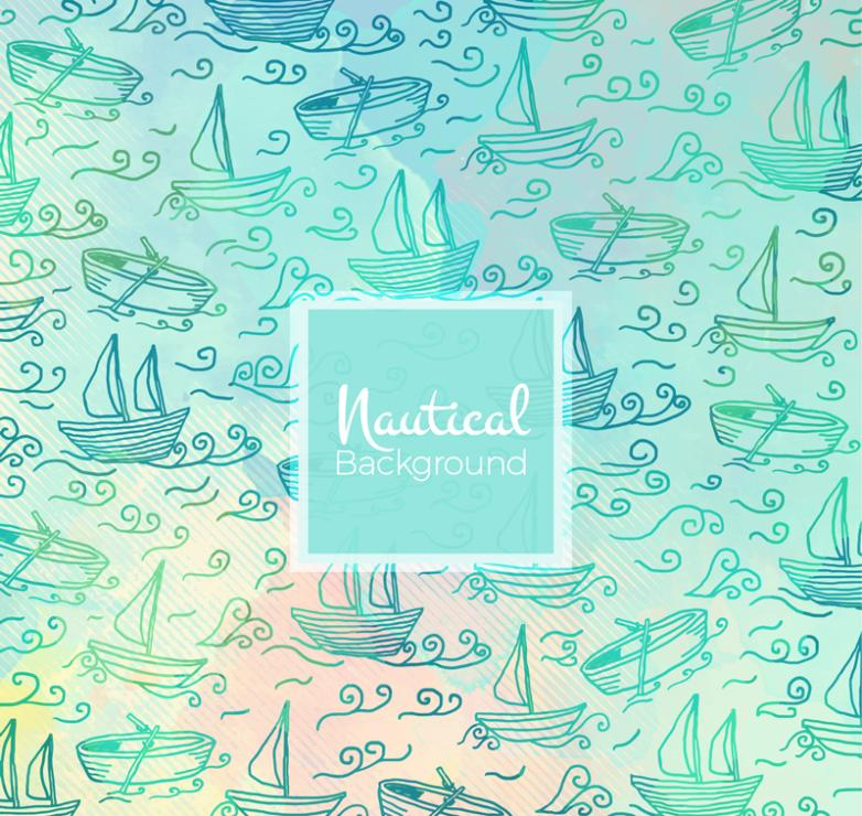 Sailing On The Sea Of Coloured Drawing Or Pattern Of Seamless Background Vector
