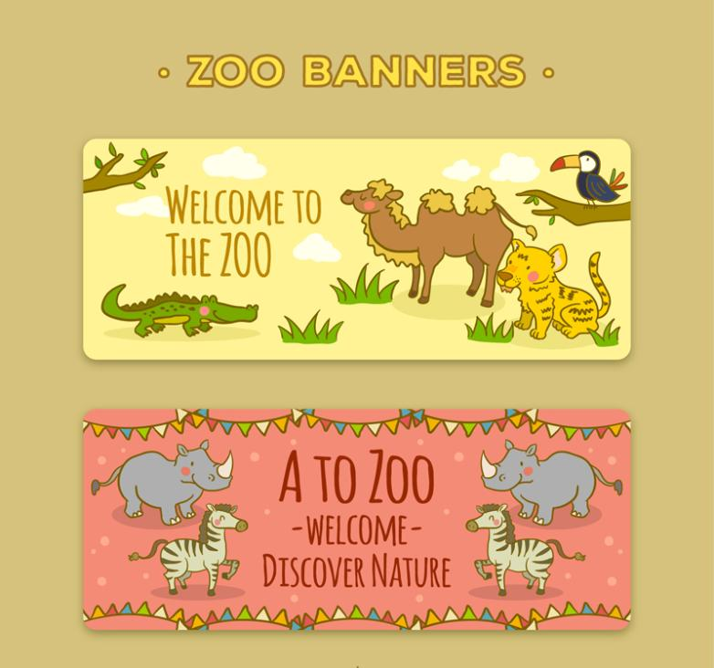 Two Lovely Zoo Promotional Banner Vector