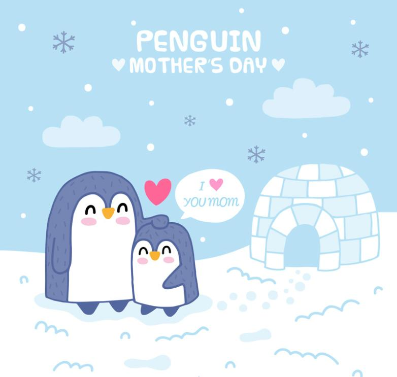 Cute Penguins On Mother's Day Vector