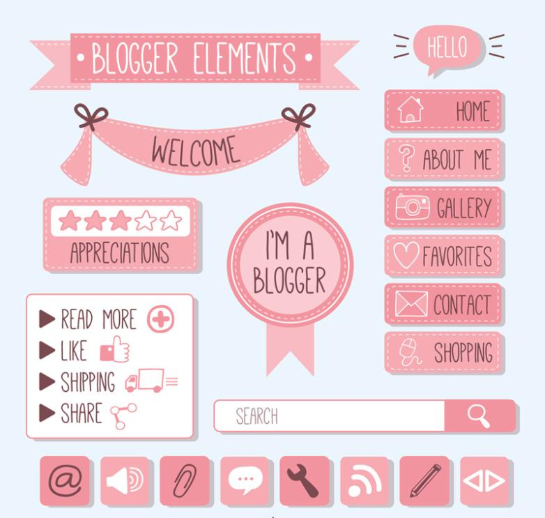 Twenty Pink Blog Decorative Elements Vector