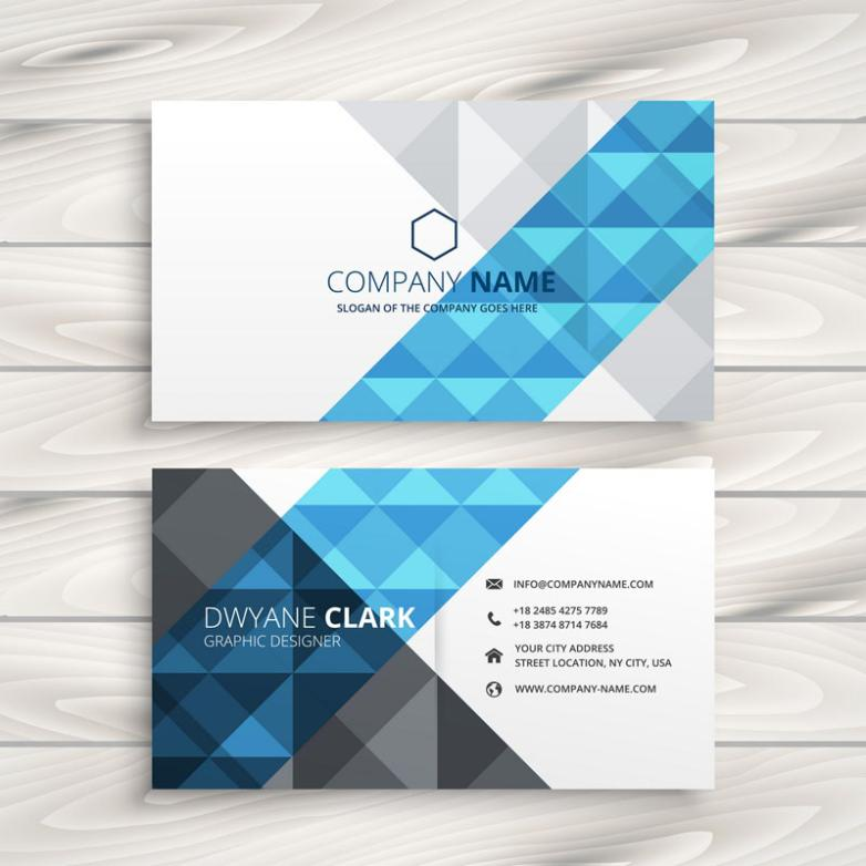 Stylish Blue Triangle Business Card Vector