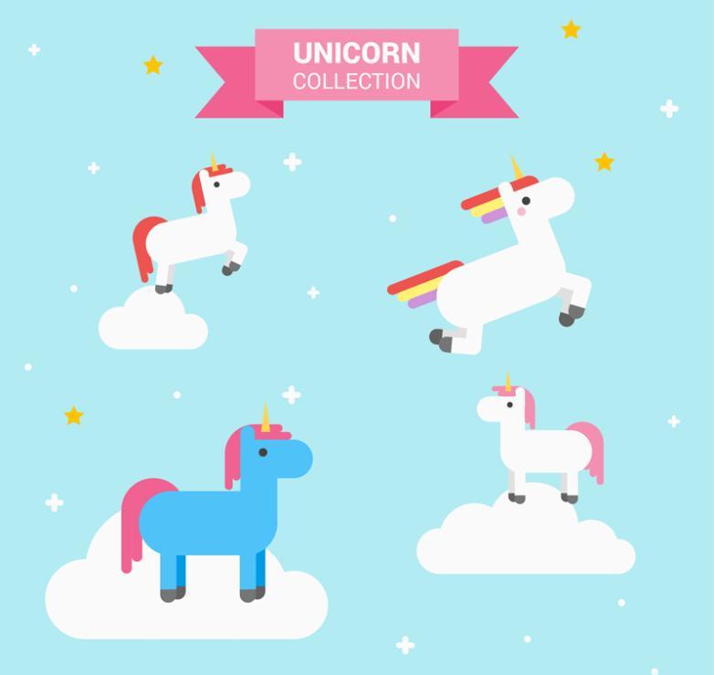 4 Cute Unicorn On The Cloud Vector