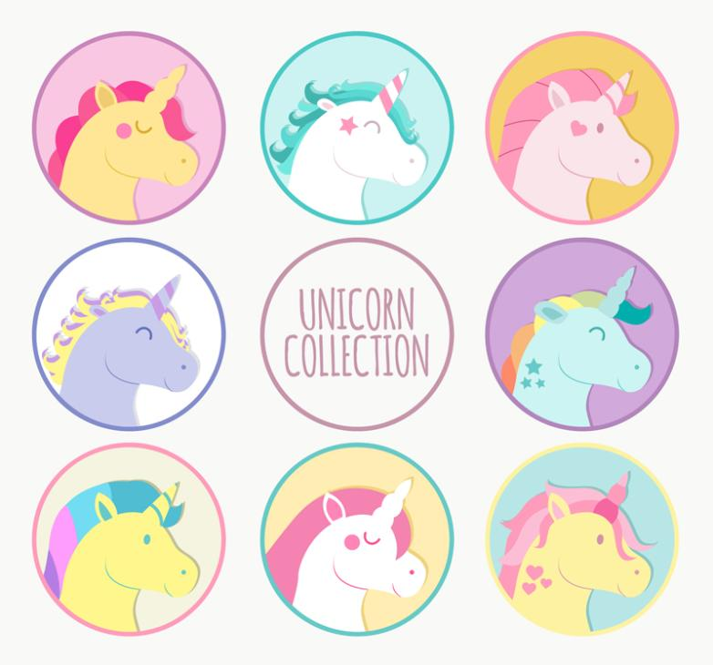 Eight Cartoon Unicorn Head Vector