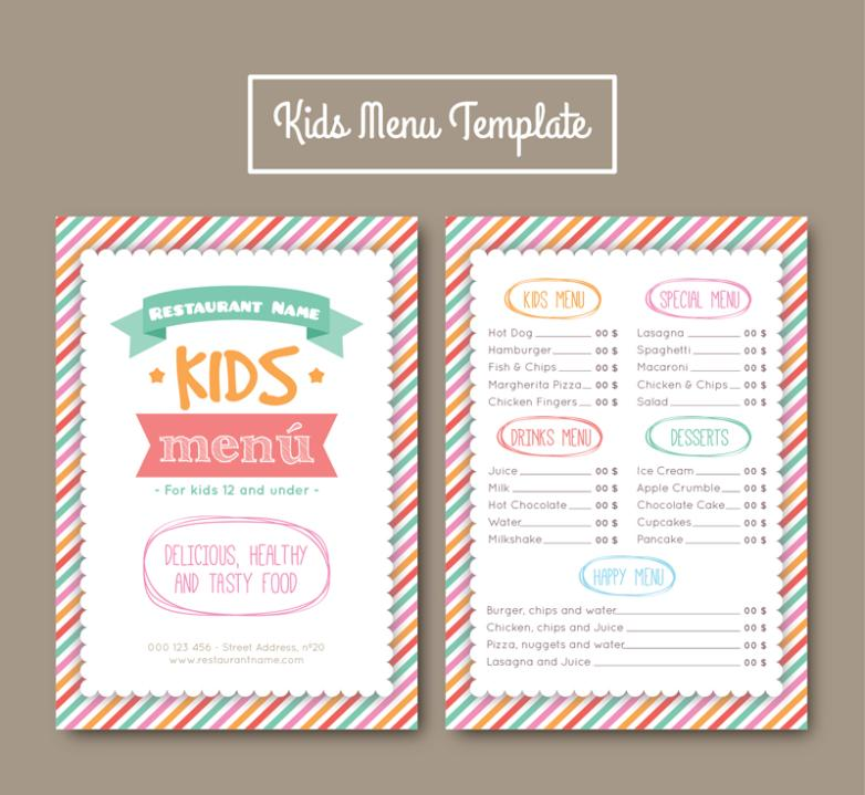 Painted Stripes Children's Menu Vector