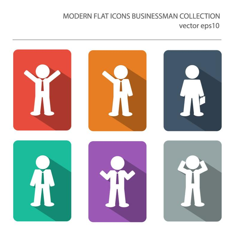Six Flat Business Man Icon Vector