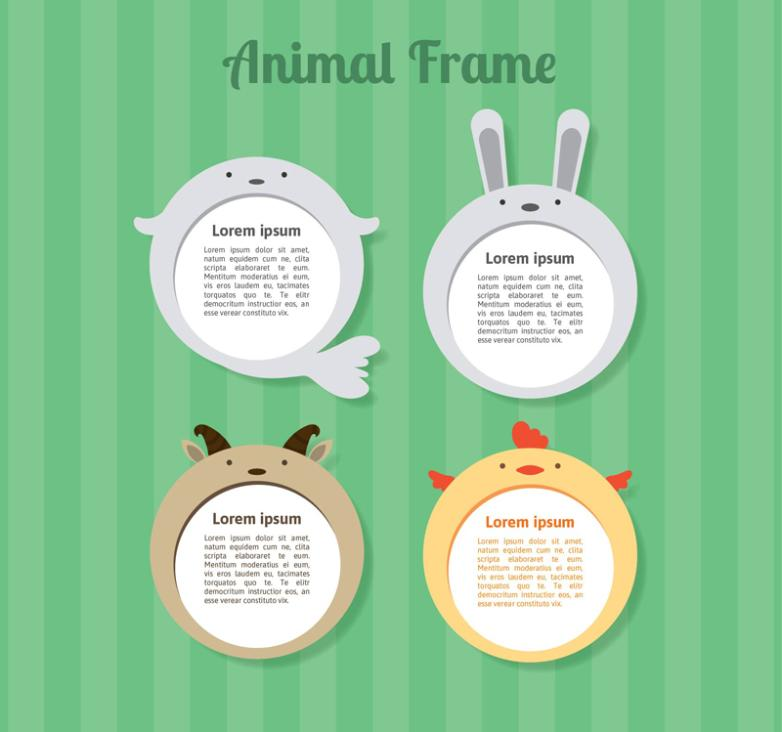 4 Creative Circular Animal Border Vector
