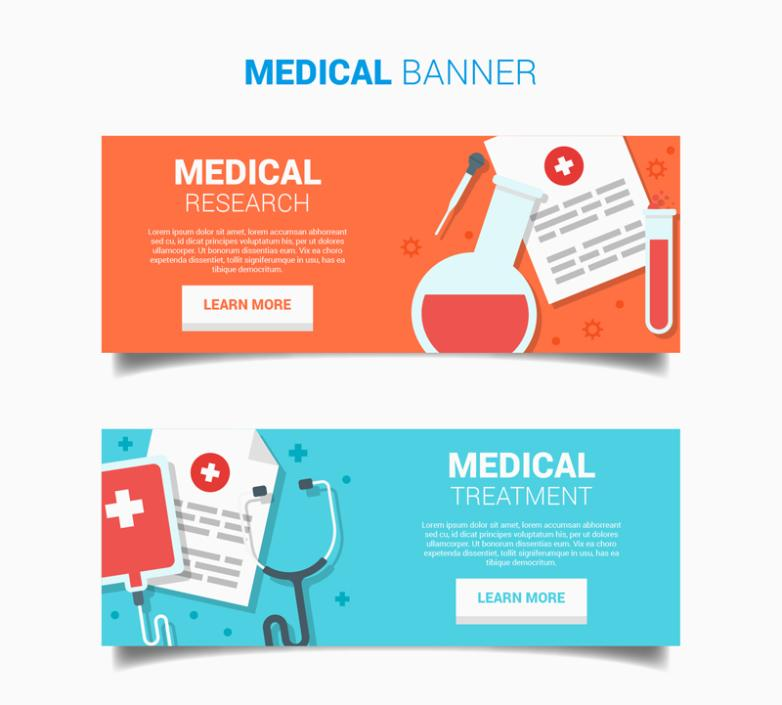 2 Or More Delicate Banner Medical Elements Vector