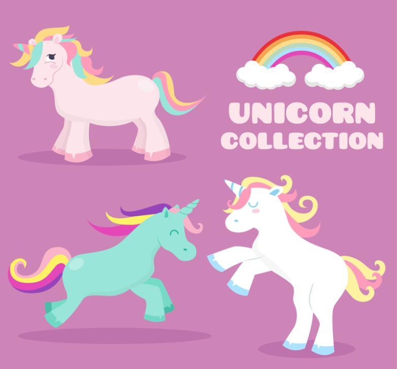 Three Color Binmao Unicorns And Rainbow Vector