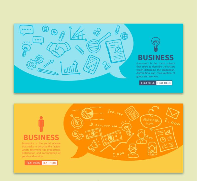 Two Color Bubbles Banner Business Elements Vector