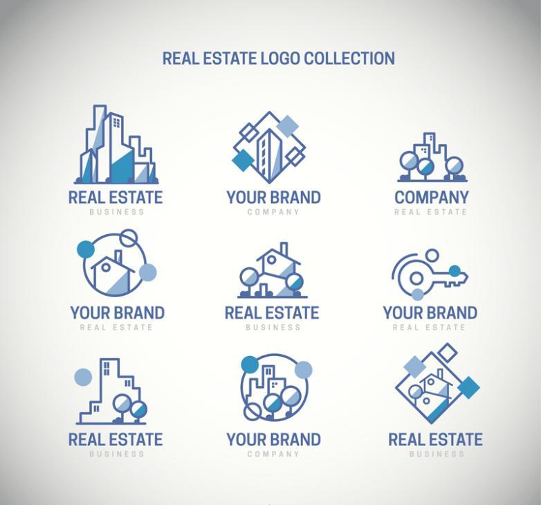 Nine New Blue Line Real Estate Logo Vector