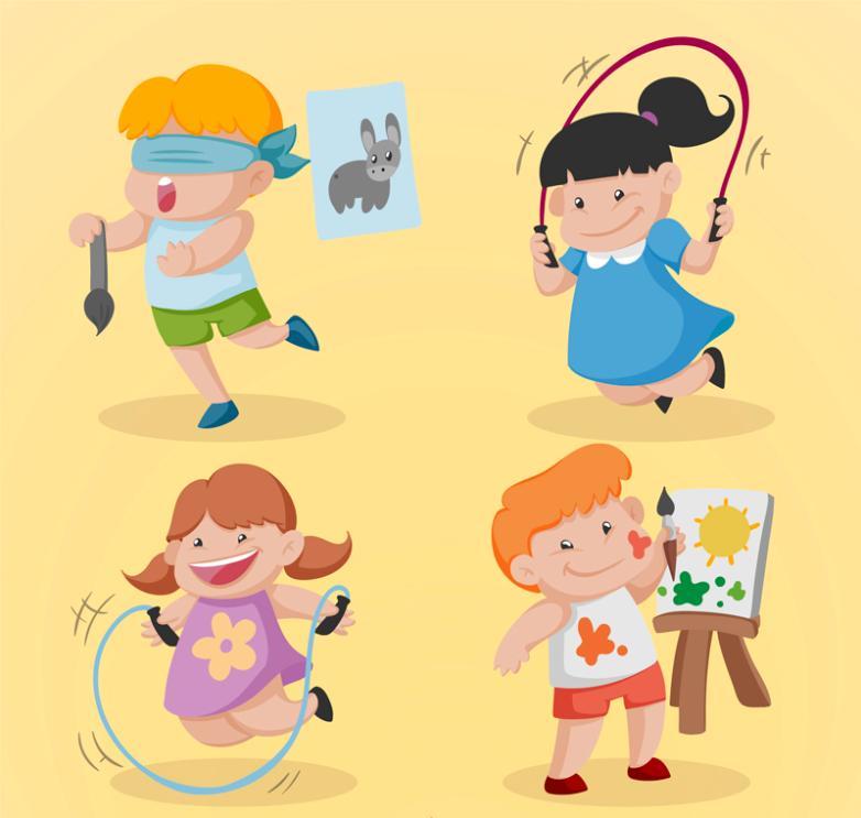 Four Children Cartoon Art Vector