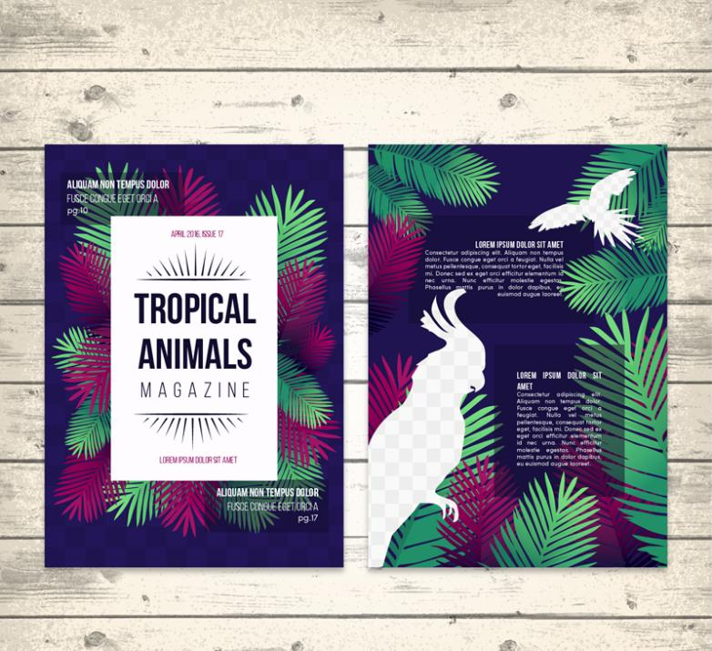 Creative Tropical Animals Magazine Pages Vector