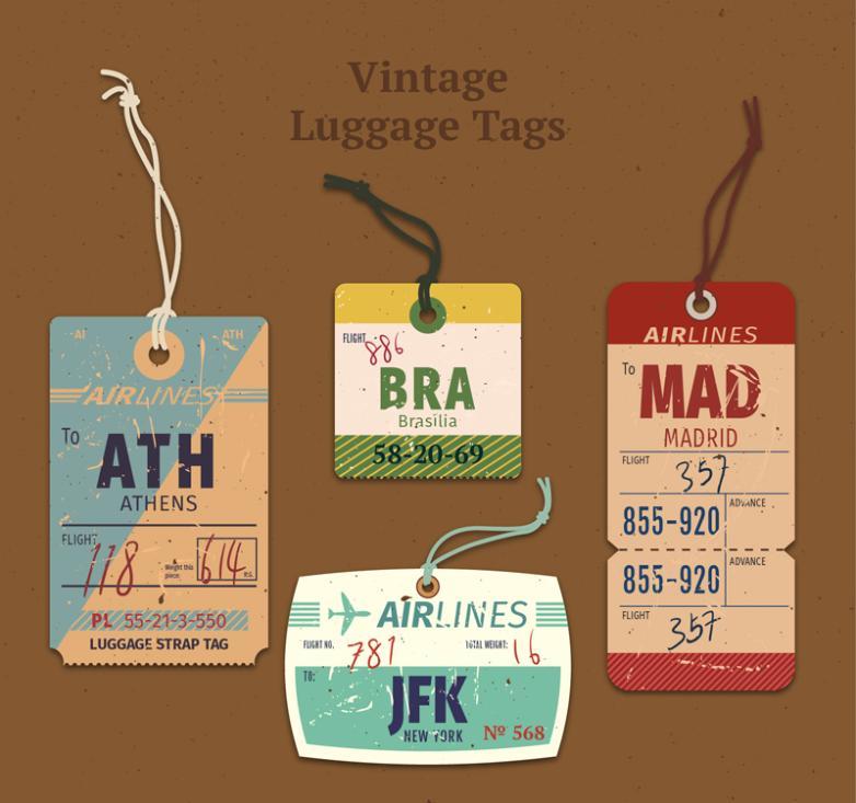 4 Vintage Aircraft Baggage Claim Tag Vector