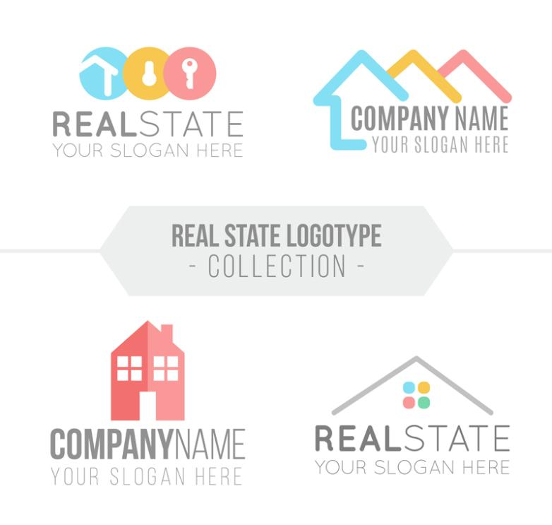 4 Color Real Estate Signs Vector