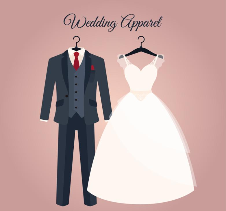 Cartoon Wedding Suits And Dress Vector