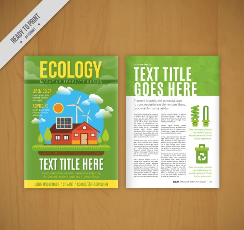 Green Ecology Page Flyer Vector