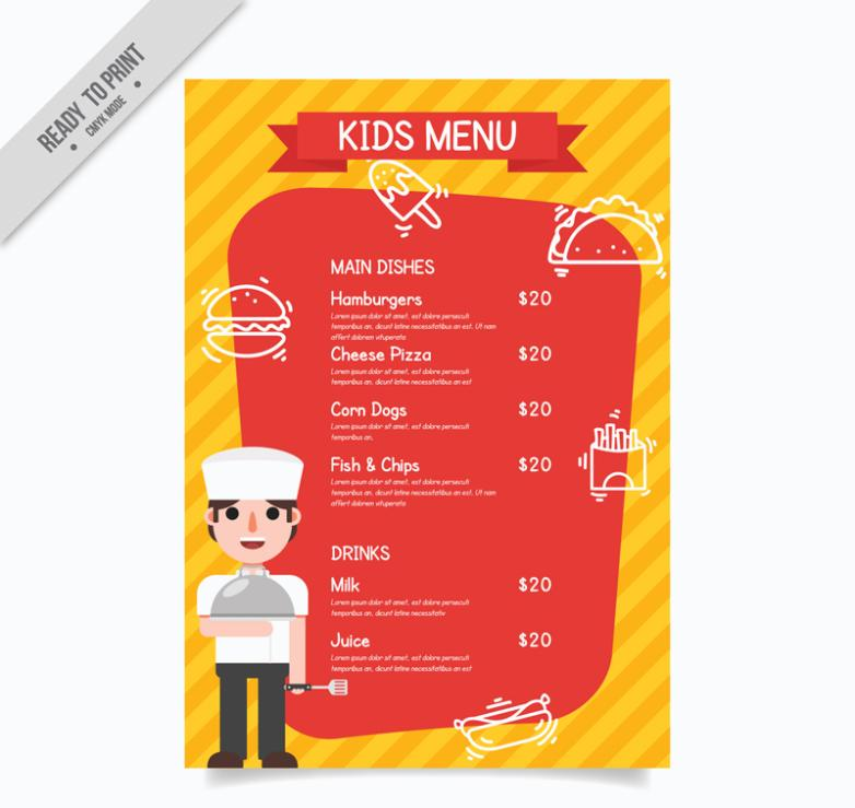 Orange Cartoon Chef Children's Menu Vector