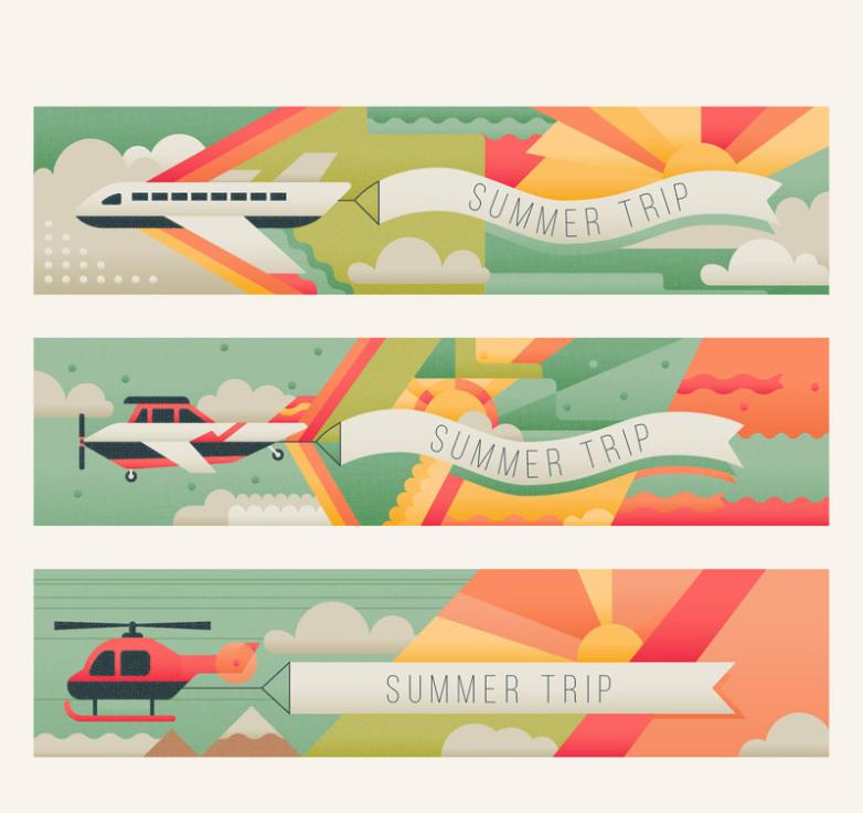 Three Summer Travel Banner Restoring Ancient Ways Vector