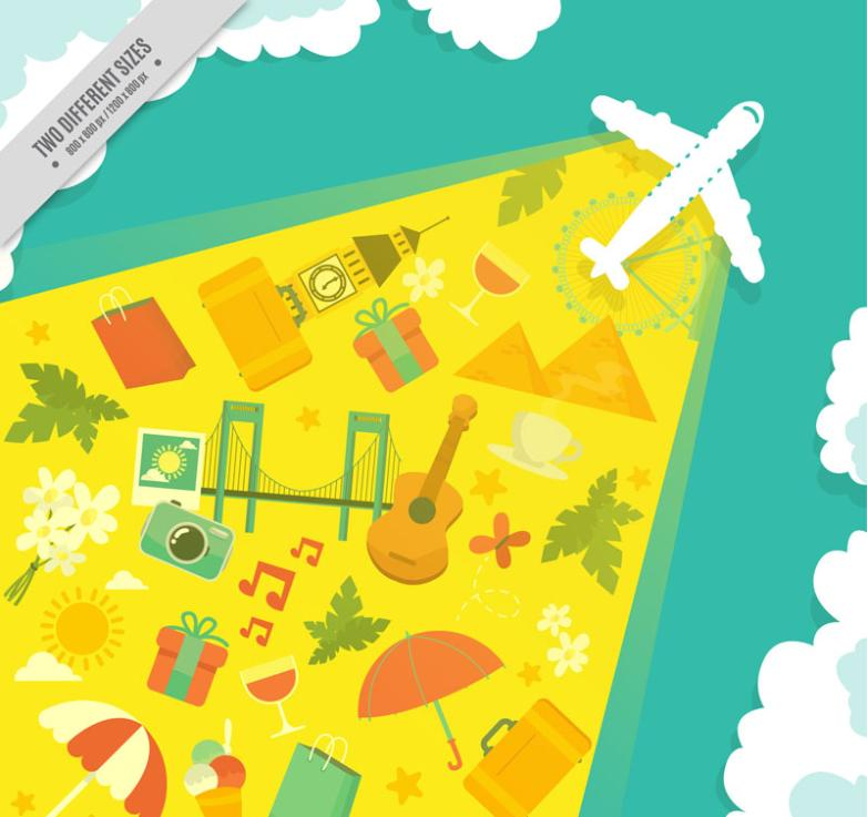 Creative Plane Elements And Travel Vector