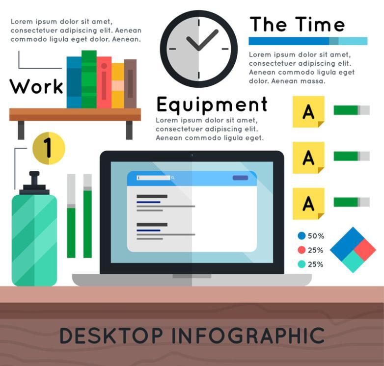 Flat Office Desktop Business Information Vector